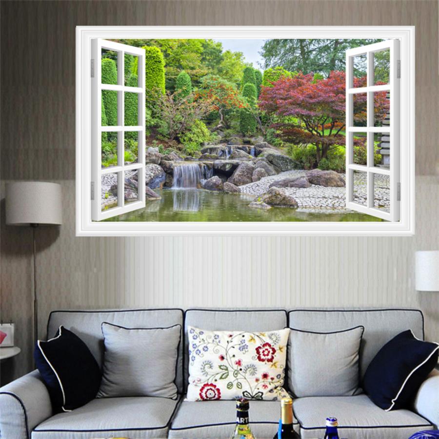 Tranh dán tường cửa sổ thác cây xanh