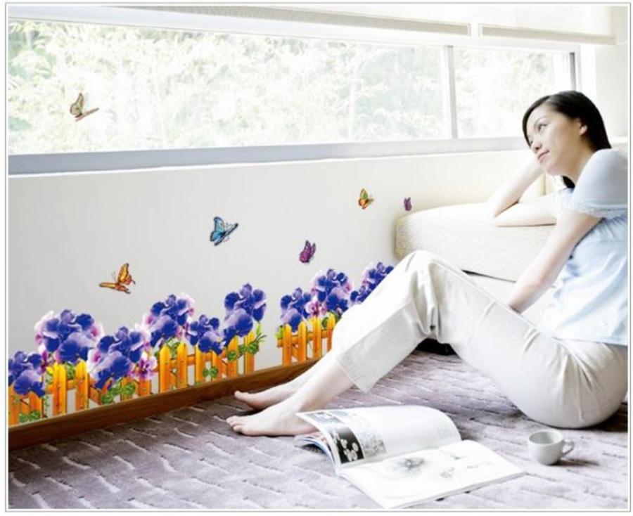 Chân tường hoa xanh