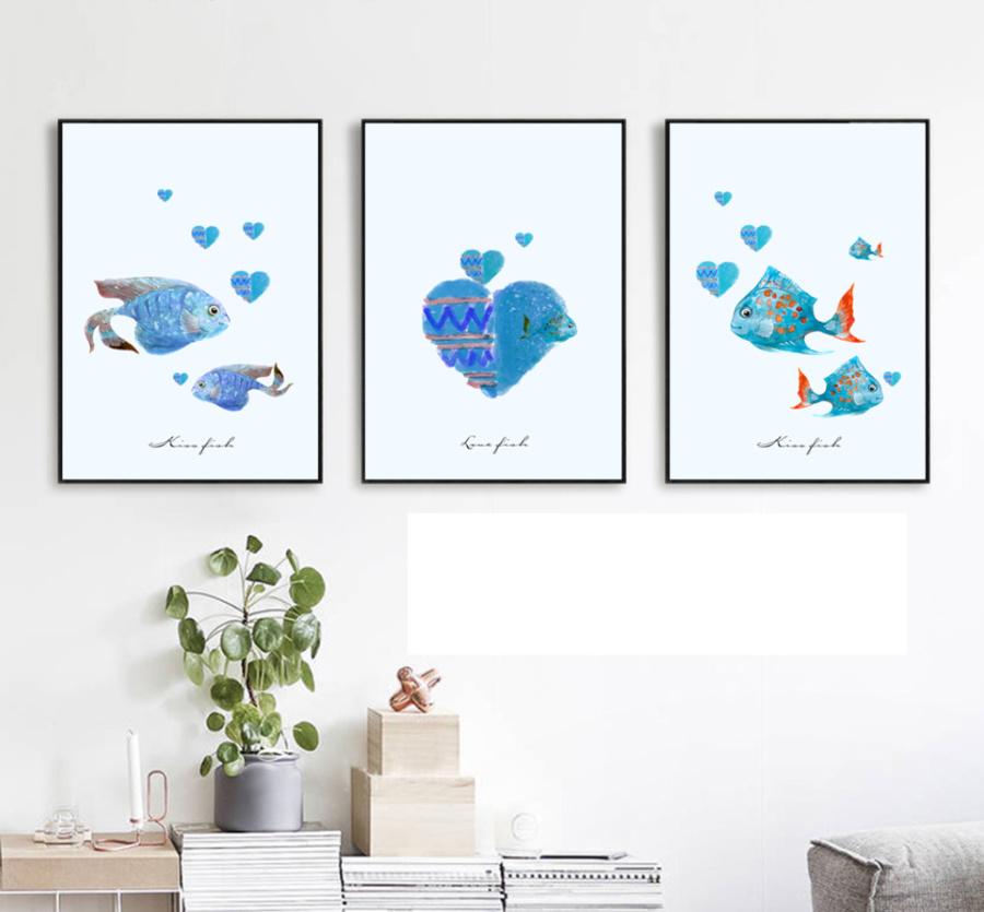 Tranh treo tường cá xanh