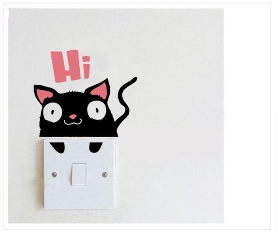 Decal ổ điện mèo đen tinh nghịch