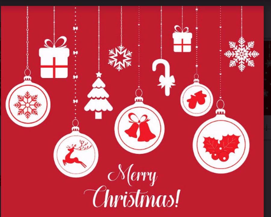 Decal dán tường dây treo quả cầu Noel và hộp quà