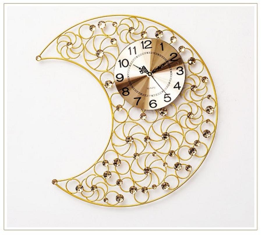 Đồng hồ treo tường đính đá hình mặt trăng
