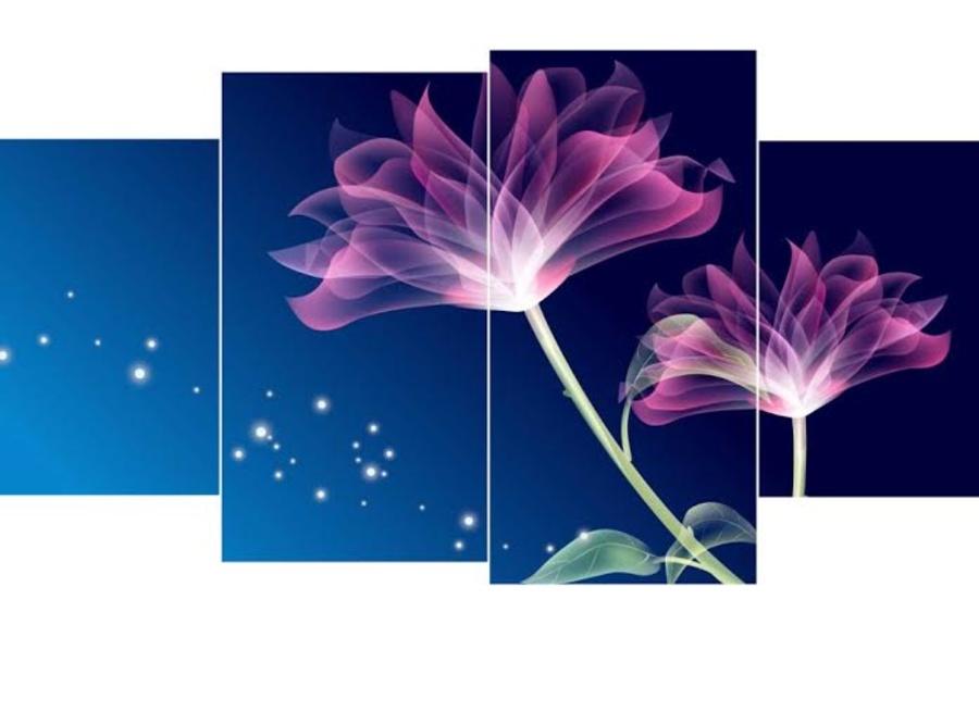 Tranh treo tường hoa tím nhiều cánh