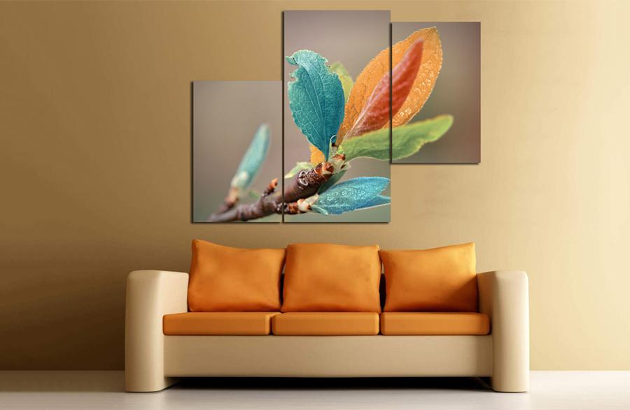 Tranh treo tường lá sắc màu cách điệu