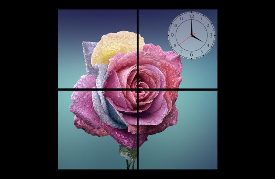 Tranh đồng hồ hoa hồng
