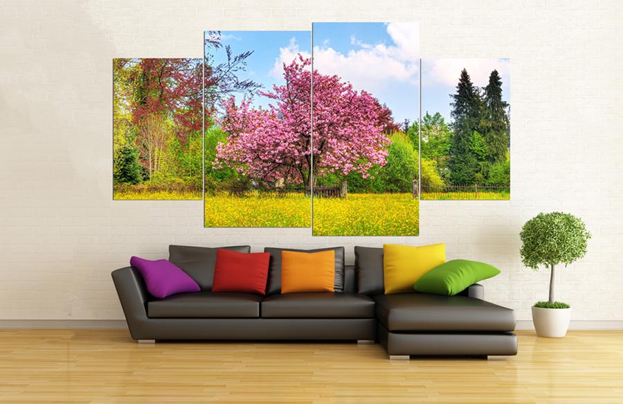 Tranh treo tường cây hoa anh đào (110x60)x4