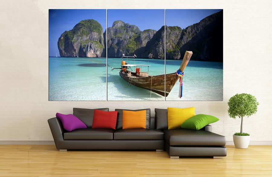 Tranh Treo Tường Phong Cảnh Biển Và Bến Thuyền Size 3 Tấm