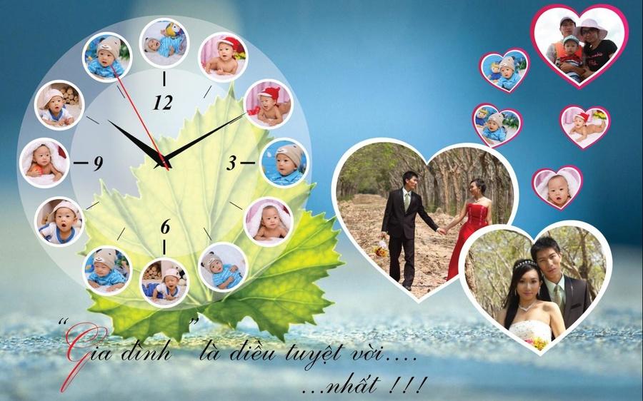 Tranh đồng hồ gia đình treo tường size 60X90