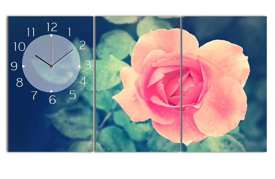 Tranh đồng hồ hoa hồng nhung