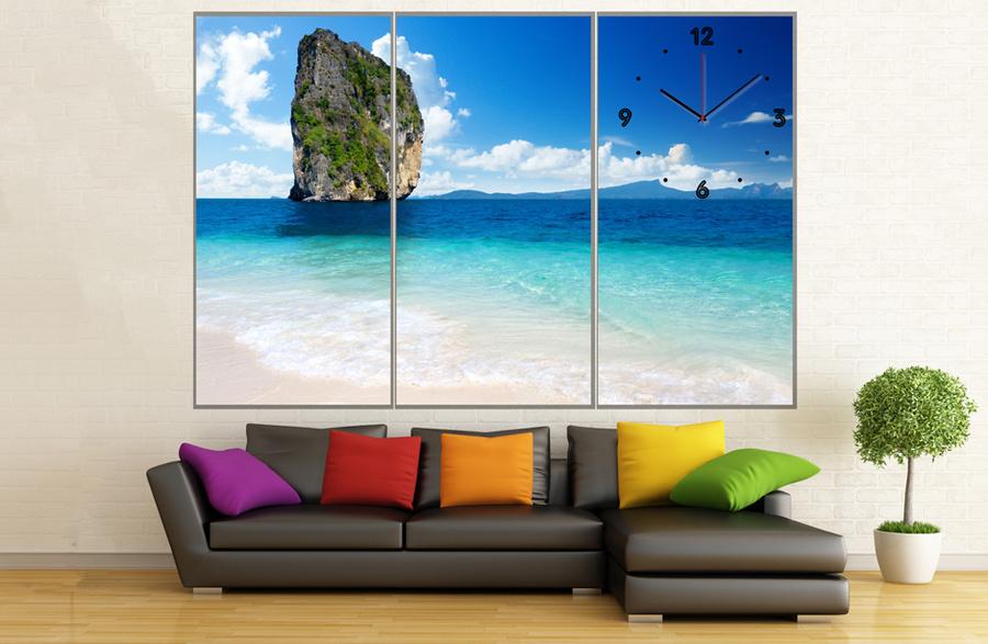Tranh đồng hồ phong cảnh biển