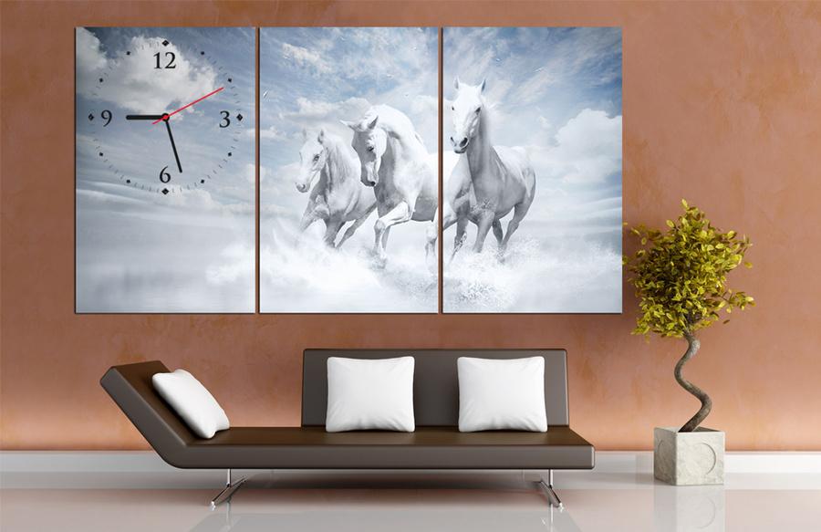 Tranh đồng hồ treo tường đàn ngựa 6