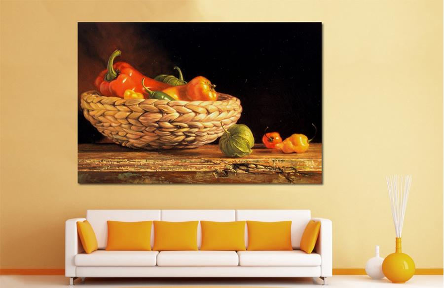 Tranh treo tường giỏ hoa quả