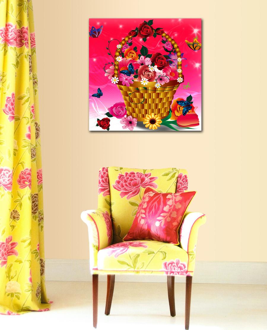 Tranh treo tường giỏ hoa sắc màu
