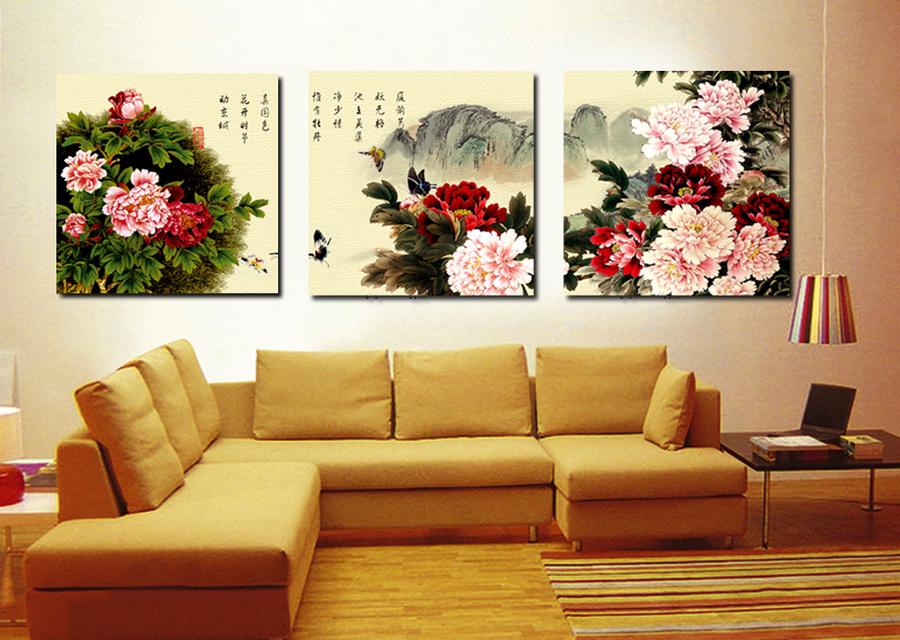 Tranh treo tường vườn hoa mẫu đơn 6