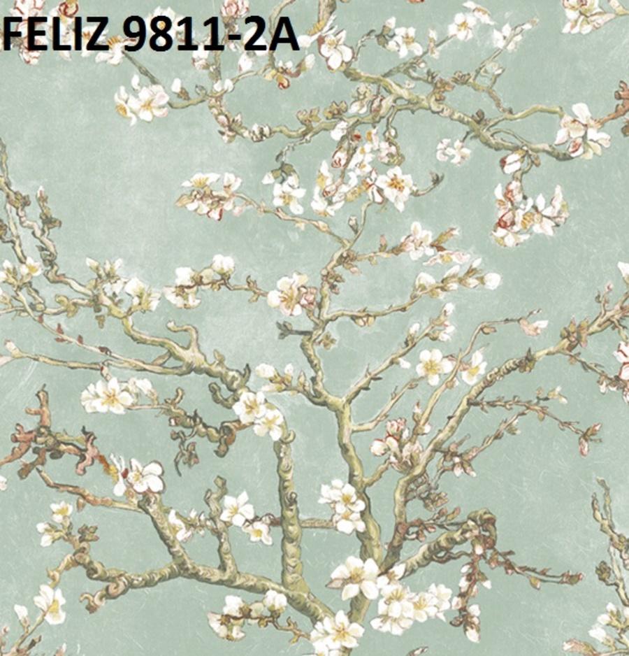 Giấy dán tường hoa mai trắng 9811-2A