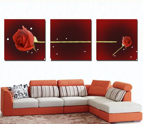 Tranh treo tường cành hồng đỏ nghệ thuật
