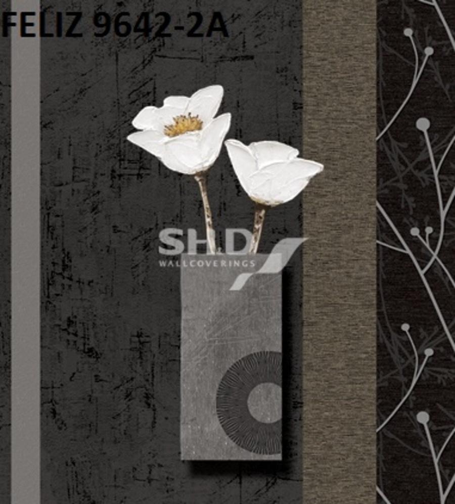Giấy dán tường hoa nghệ thuật nền đen 9642-2A