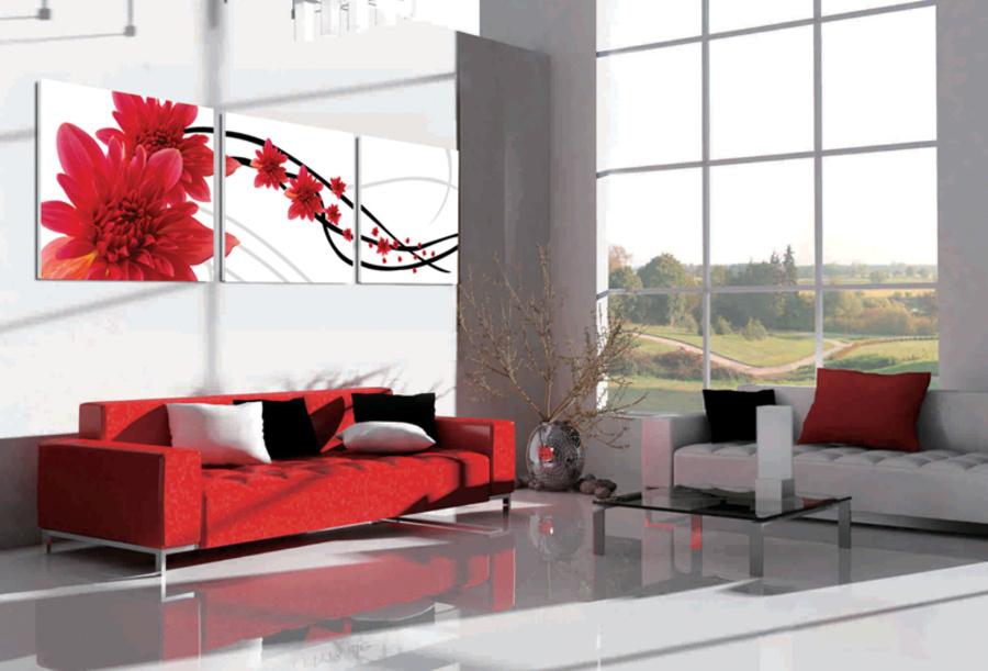 Tranh treo tường dây hoa cúc đỏ