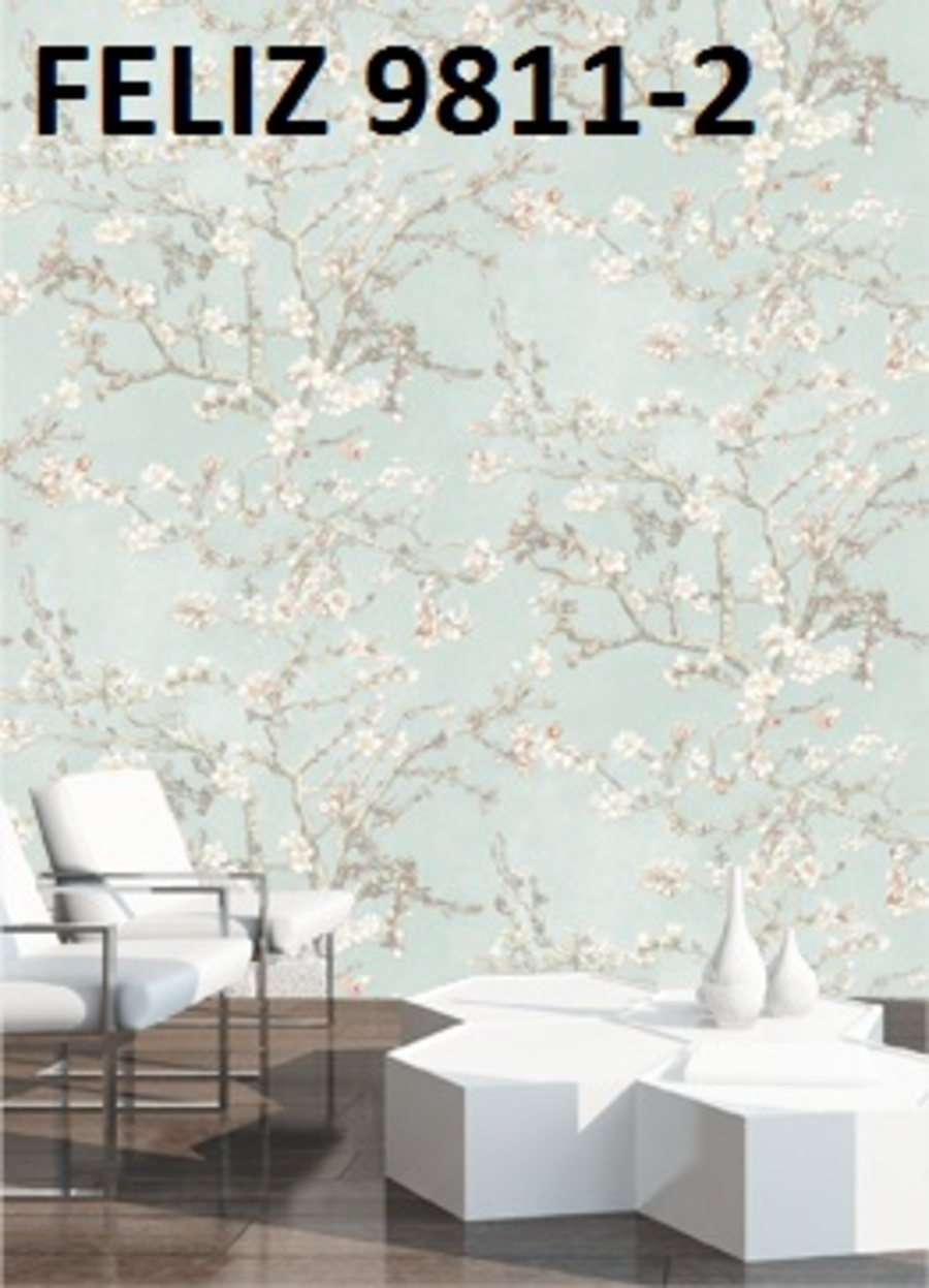 Giấy dán tường hoa mai trắng 9811-2