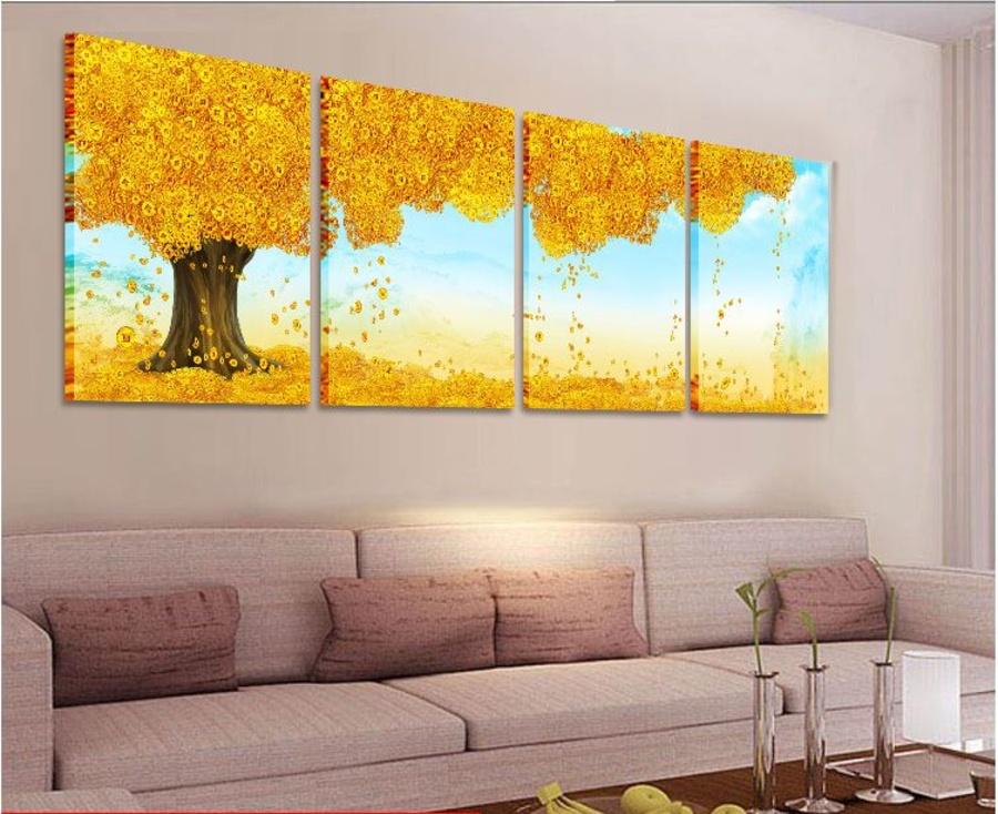 Tranh treo tường cây đồng tiền vàng