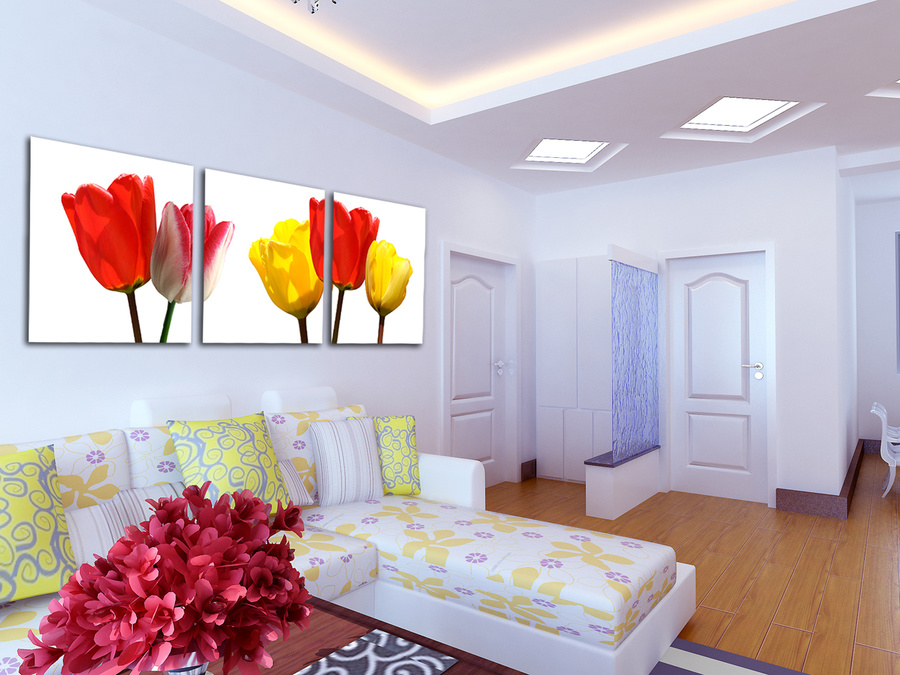 Tranh treo tường hoa tulip đa sắc