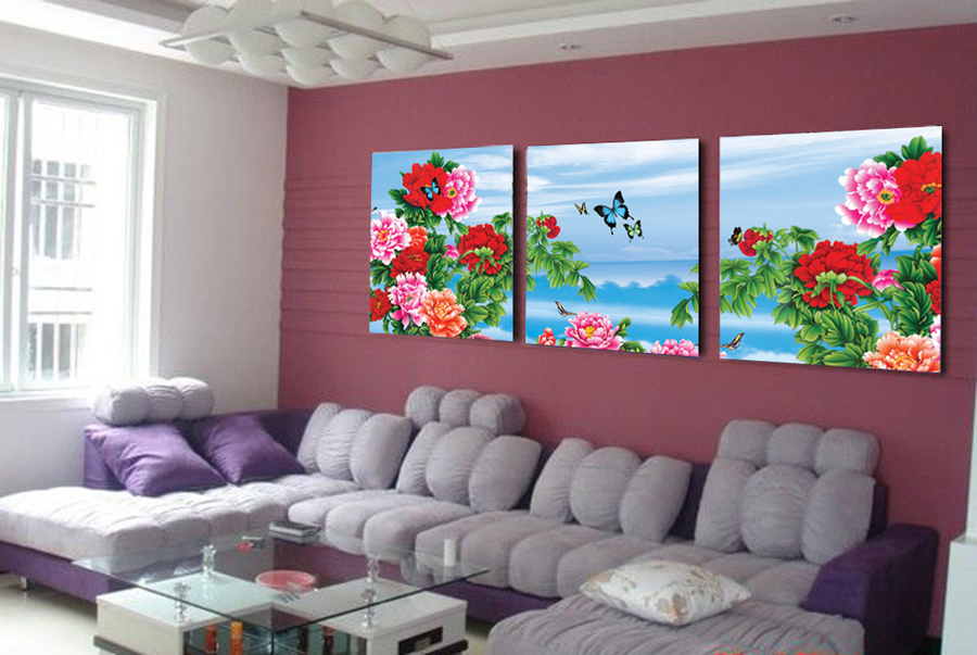 Tranh treo tường vườn hoa mẫu đơn 4