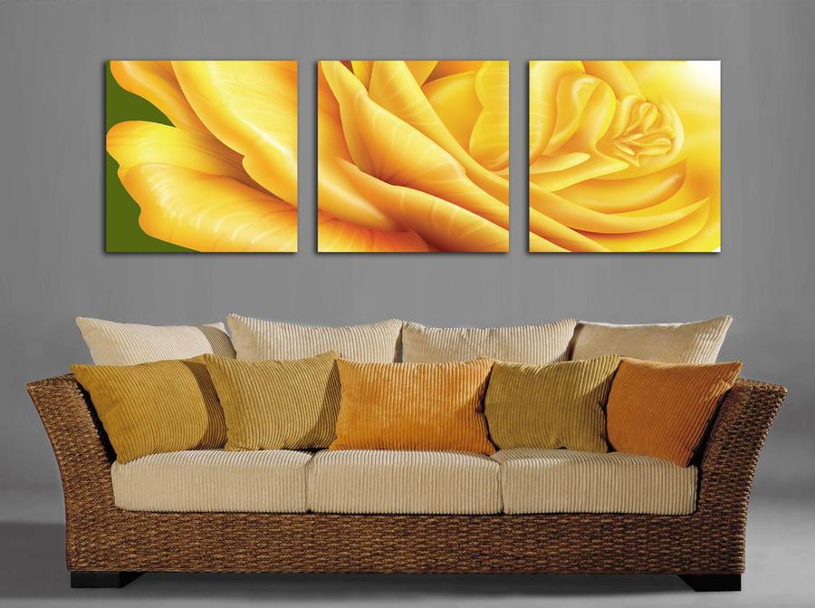 Tranh treo tường hoa hồng vàng