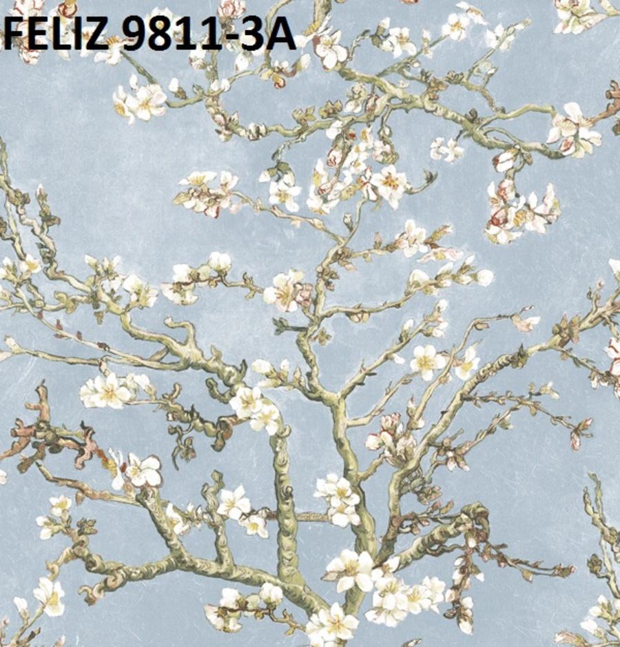 Giấy dán tường hoa mai trắng 9811-3A
