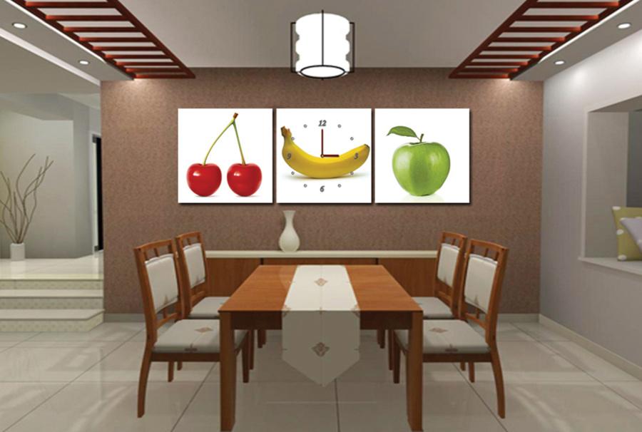Tranh đồng hồ bộ 3 loại trái cây 03