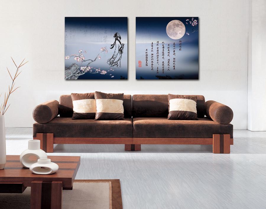 Tranh thư pháp hoa đào ánh trăng