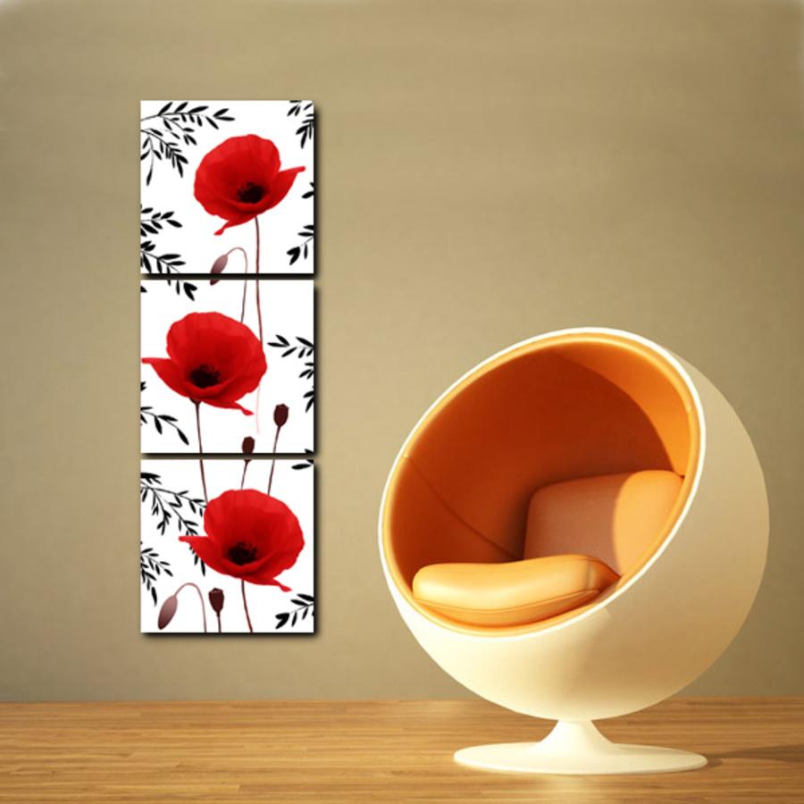 Tranh treo tường hoa anh túc đỏ 2
