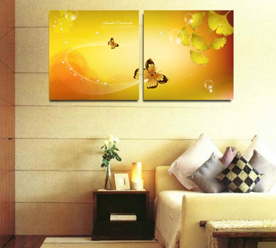 Tranh treo tường bướm vàng nghệ thuật
