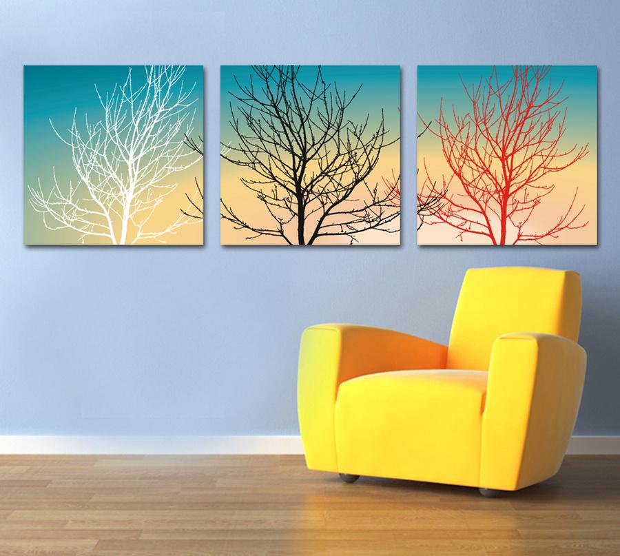 Tranh treo tường cây 3 màu hoàng hôn