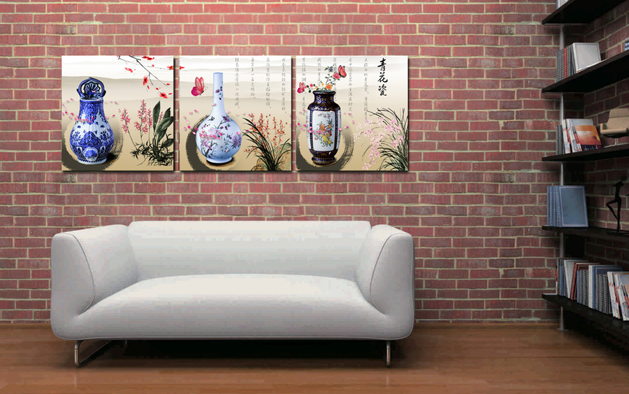 Tranh treo tường bình hoa cổ