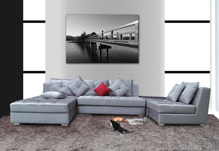 Tranh treo tường trắng đen cầu gỗ xưa 40x60