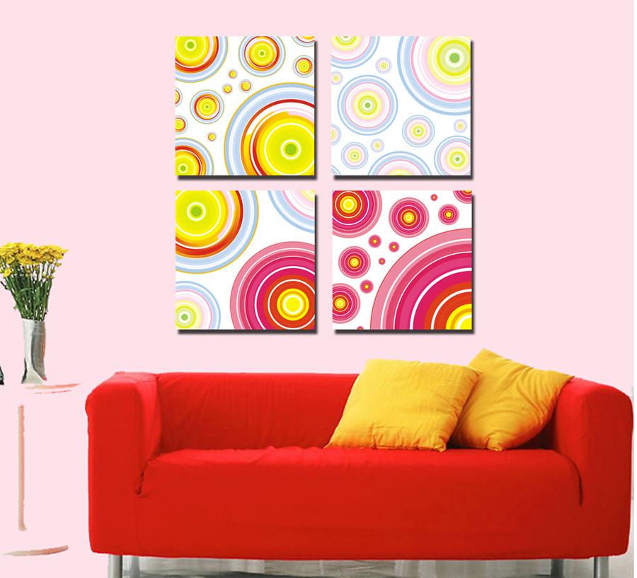Tranh treo tường vòng tròn sắc màu