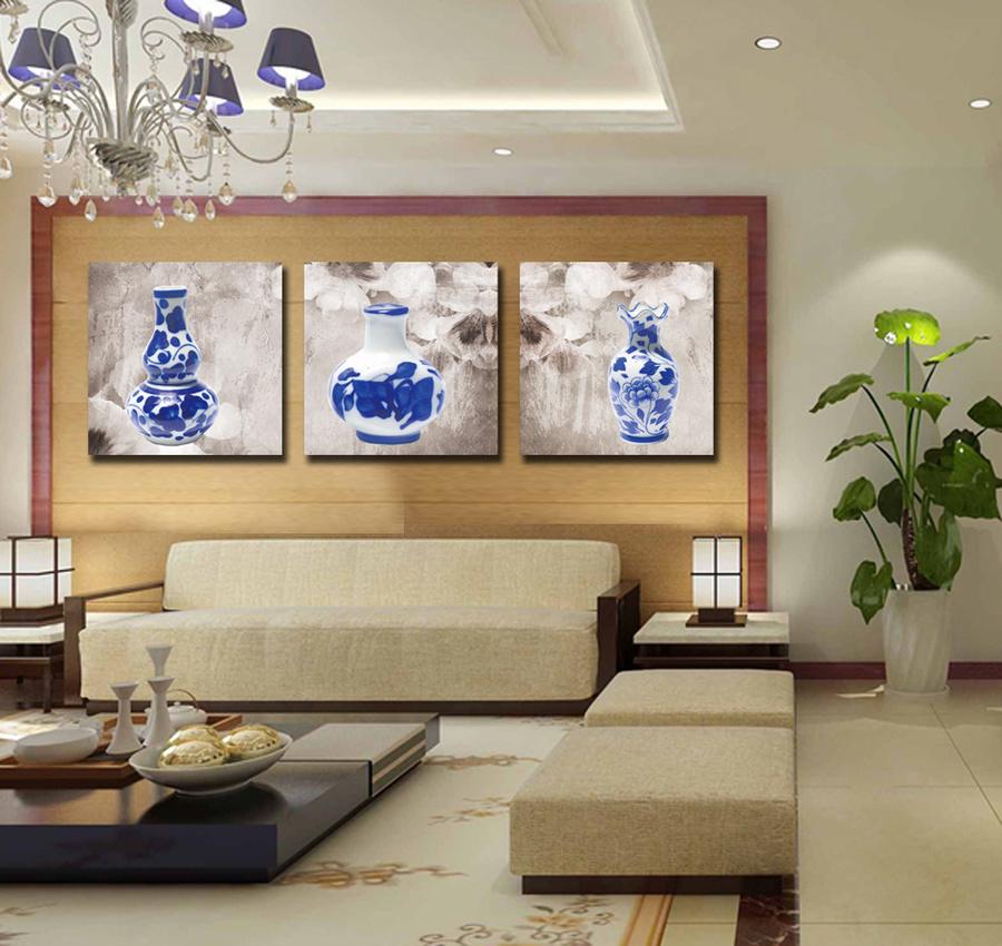 Tranh treo tường bộ 3 bình hoa xanh
