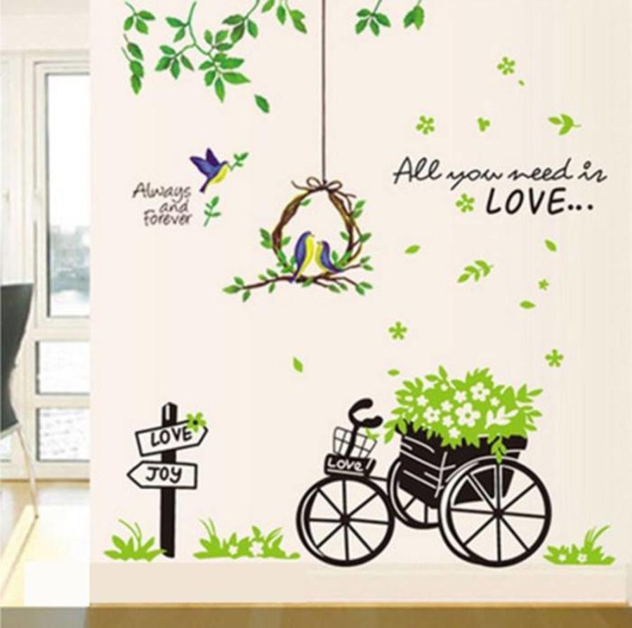 Decal dán tường Combo Lồng chim xanh + Xe đạp xanh