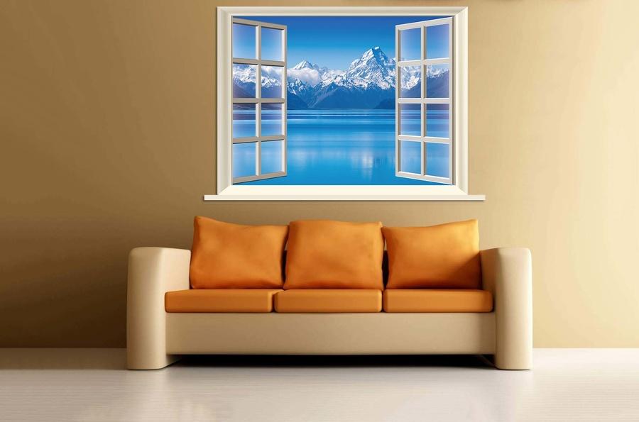 Tranh dán tường cửa sổ núi tuyết