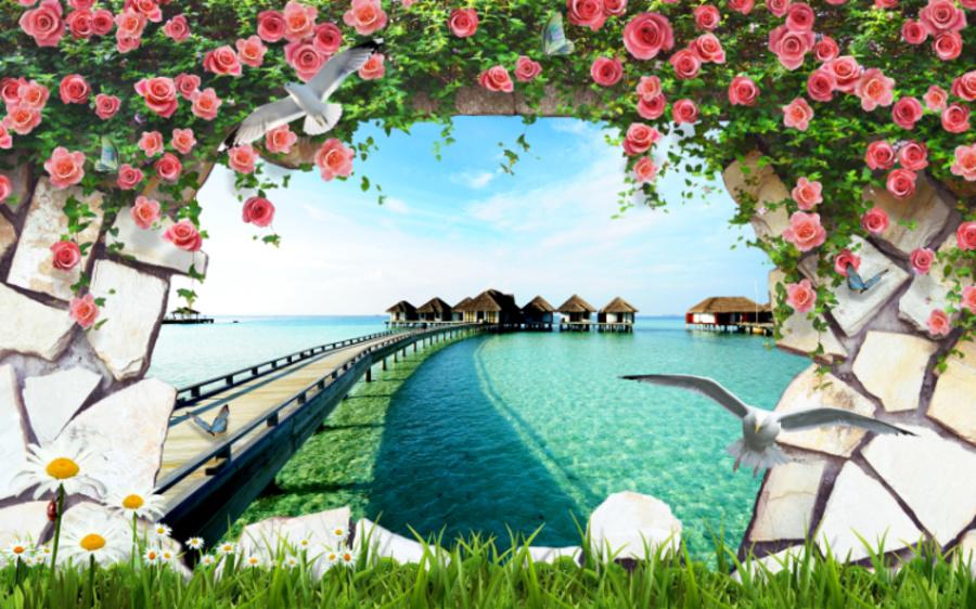 Tranh dán tường phong cảnh biển 3D YD141