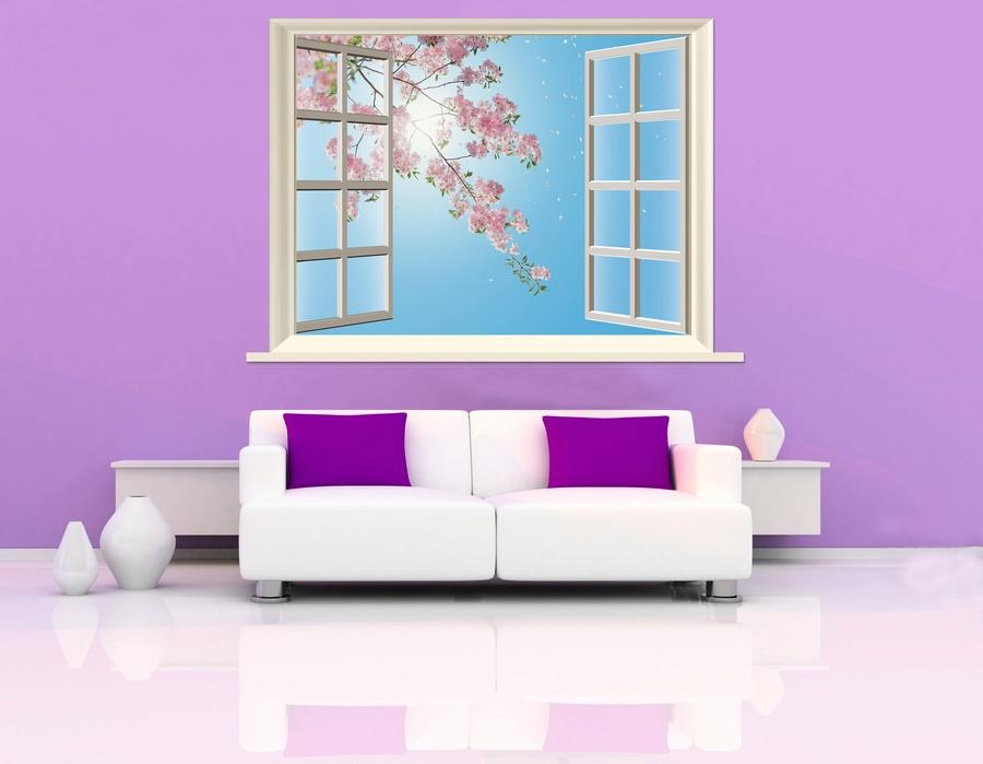 Tranh dán tường cửa sổ hoa đào hồng 3