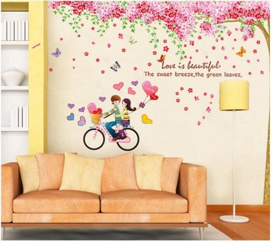 Decal dán tường Combo Cây đào hồng size 2 tấm   Xe đạp tình nhân 2