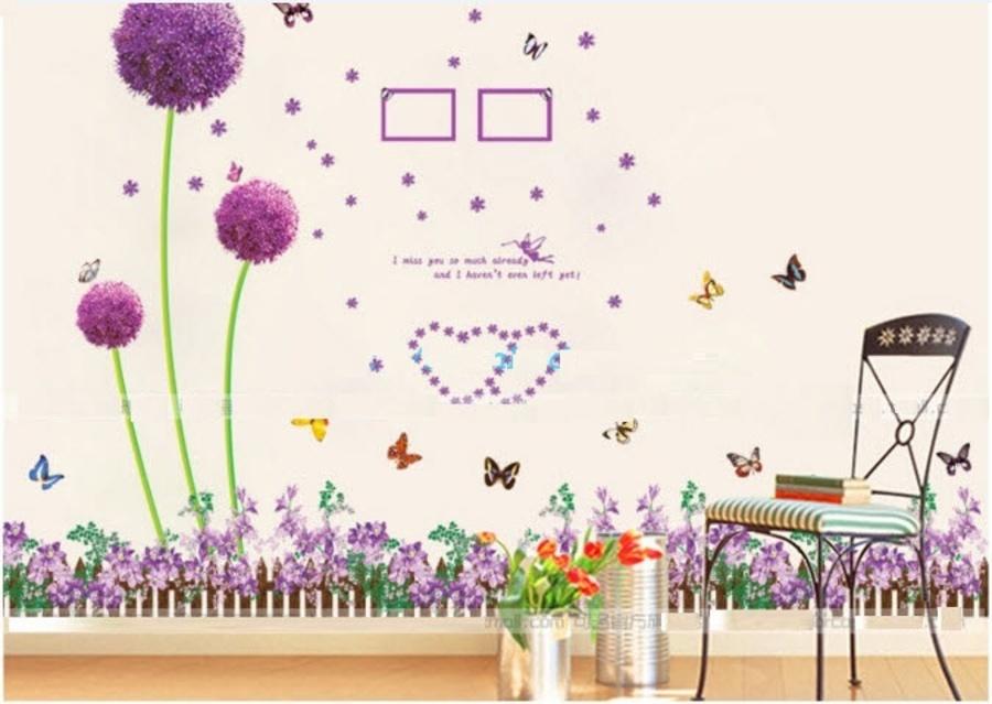 Decal dán tường Combo Cẩm tú cầu tím 1   Chân tường hoa tím