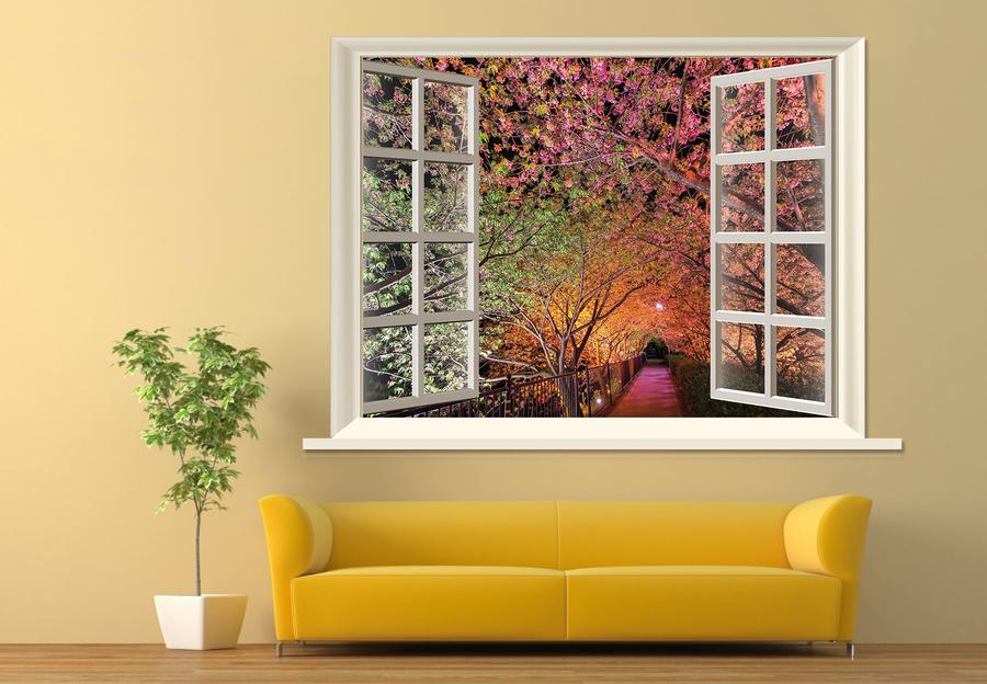 Tranh dán tường cửa sổ con đường màu hồng