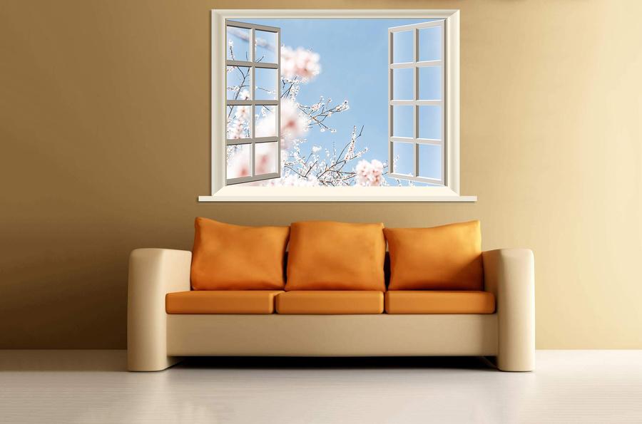 Tranh dán tường cửa sổ hoa đào trắng