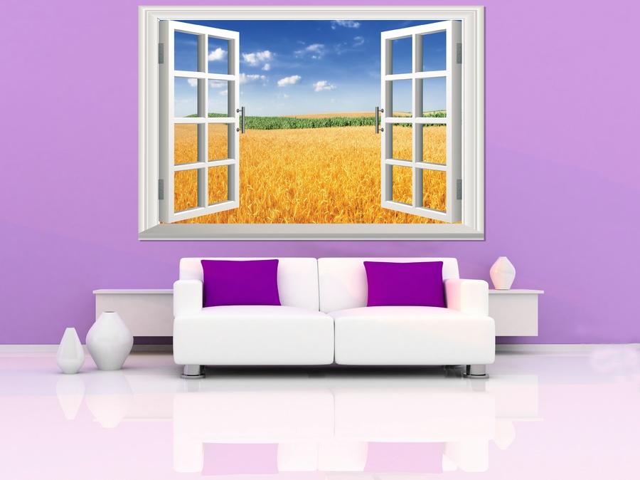 Tranh dán tường cửa sổ cánh đồng lúa mì