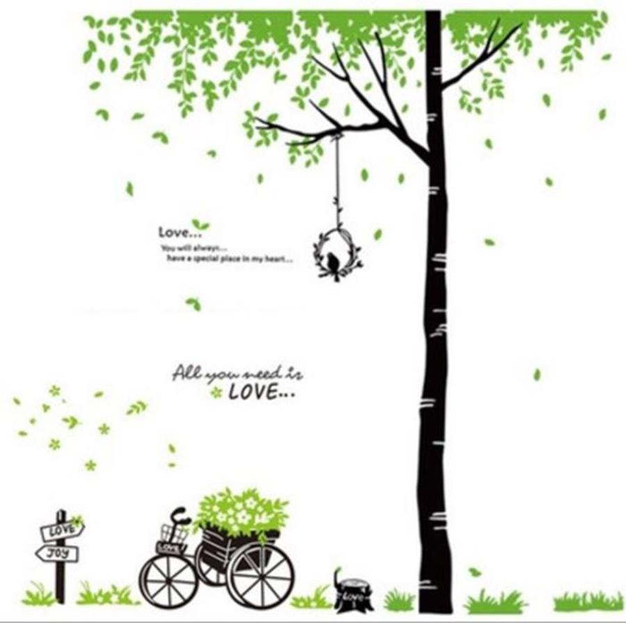 Decal dán tường Combo Xe đạp xanh   Cây xanh tổ chim to