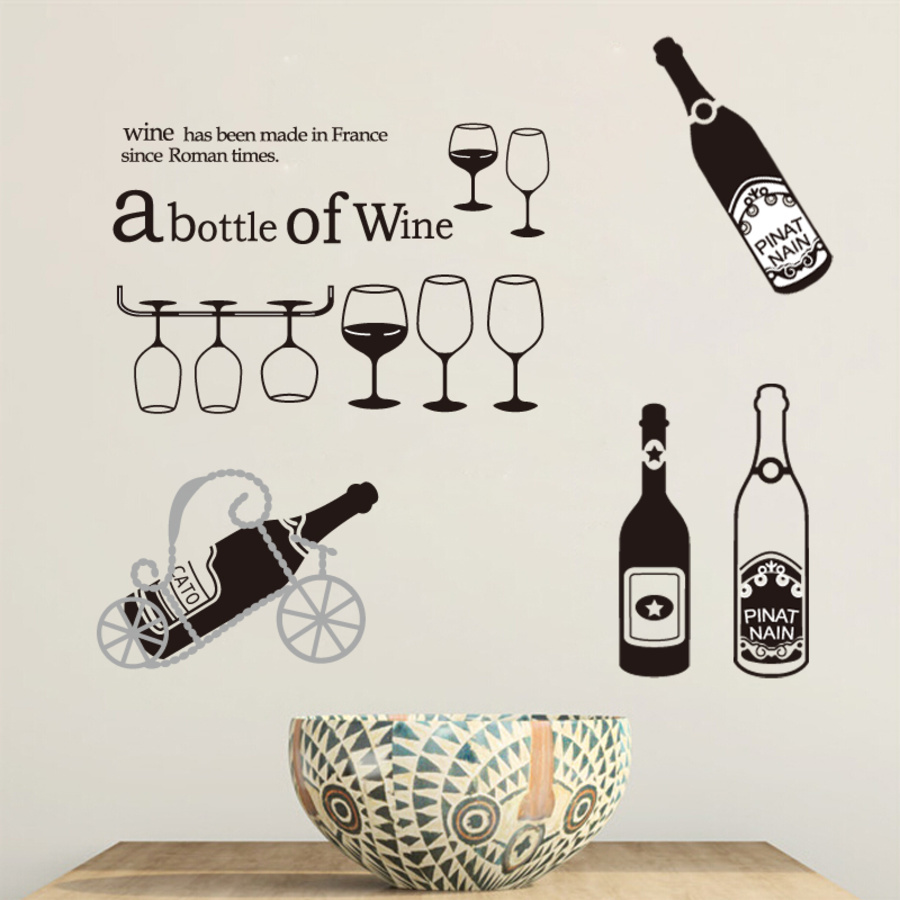 Decal dán tường Abottle of Wine