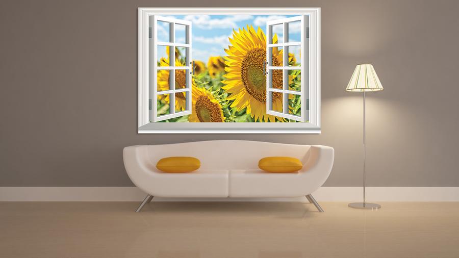 Tranh dán tường cửa sổ hoa hướng dương 3
