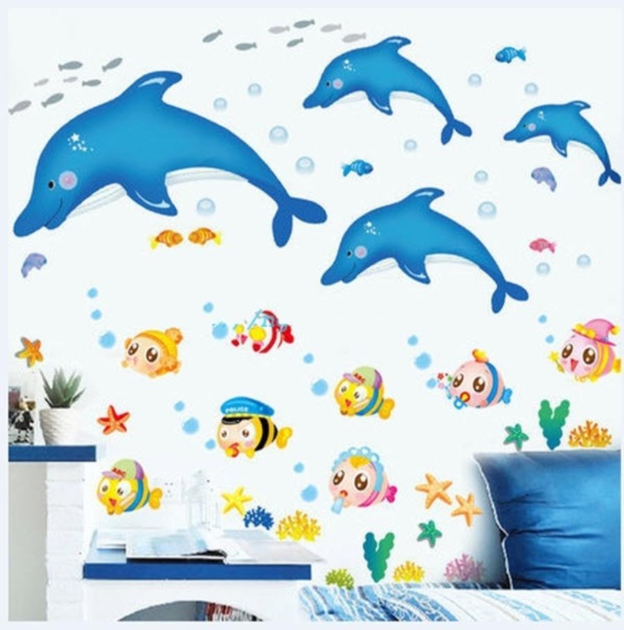 Decal dán tường Combo  Đàn cá heo xanh nhỏ   Đàn cá sắc màu